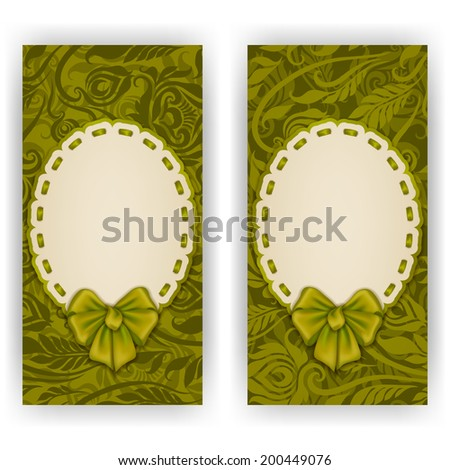 Set of elegant templates of luxury invitation, gift card with lace ornament, bow, place for text. Floral elements, ornate background. Illustration. - stock photo