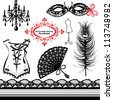 Set of elements for women - Carnival Mask, Corset, Peacock feather, Fan - stock vector