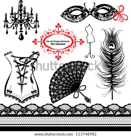 Set of elements for women - Carnival Mask, Corset, Peacock feather, Fan - stock photo