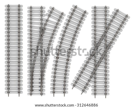 Set of Elements of rails isolated on white background. Railway straight stretch, bend, intersection, an arrow 3d rendering