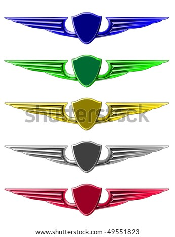 Set of emblems for decoration isolated on white. Vector version is also available  - stock photo