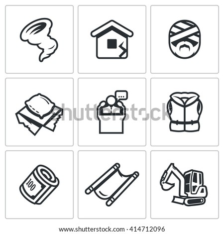 Set of Emergency Service Icons. Hurricane, Earthquake, Victim, Homeless, President, Lifeguard, Financing, Evacuation, Analysis dam. Rescue service in the aftermath of natural disasters. - stock photo