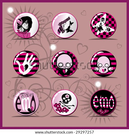 Set of emo icons. (Vector version 10440052) - stock photo