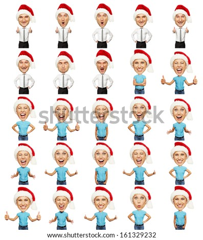 set of emotional christmas man and woman over white background - stock photo