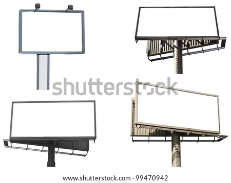 Set of empty billboards isolated on white background - stock photo