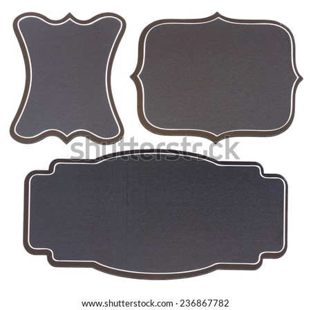 set of empty black board vintage  tags   isolated on white background - stock photo