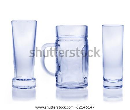 Set of empty glasses - stock photo