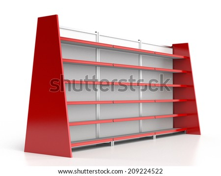 set of empty supermarket shelves in perspective. render - stock photo