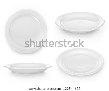set of empty white plate on the white background - stock photo