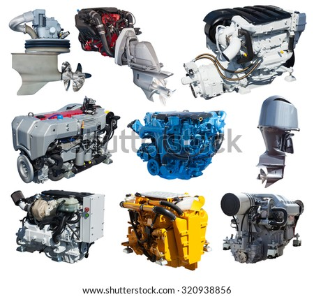 Set of engines of speedboat. Isolated over white background