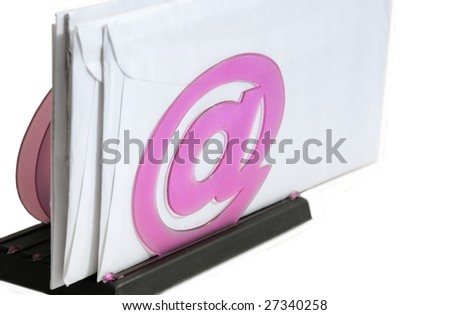 "Set of envelopes on a holder with ""at"" symbol on white background"
