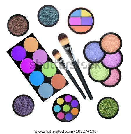 set of 5 eyeshadows and brushes isolated on white background - stock photo