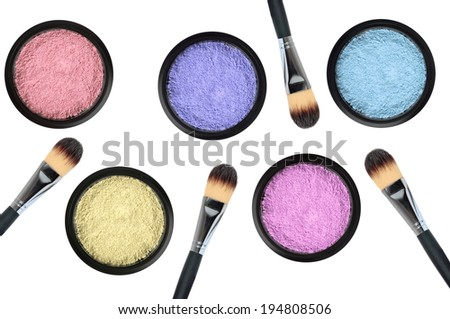 set of 5 eyeshadows and brushes isolated on white background - stock photo