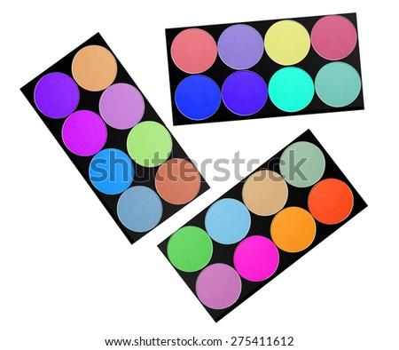 set of 5 eyeshadows isolated on white background - stock photo
