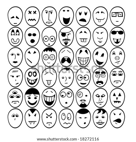 Set of face smiley