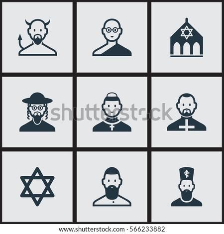 Set 9 Faith Icons Includes Symbols Stock Illustration 566233882