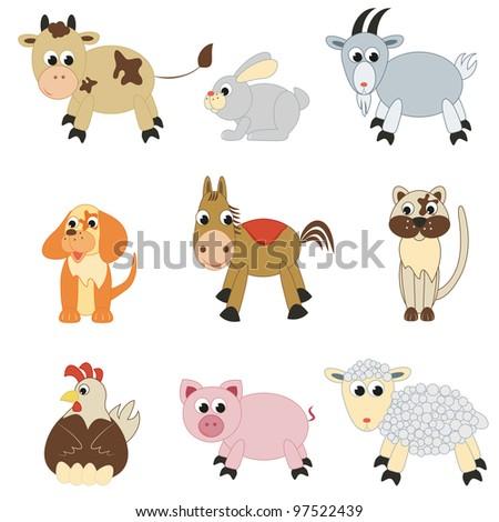 Set of farm animals on white background. - stock photo