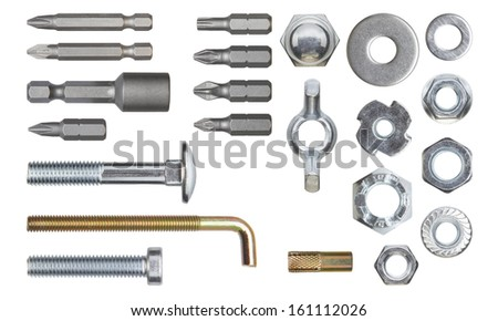 Set of fasteners. Clipping path included.