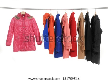 Set of female colorful jacket with coat display - stock photo