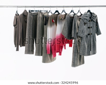 Set of female dress with plants isolated on hanging  - stock photo