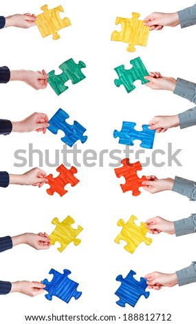 set of female hands with painted puzzle pieces isolated on white background
