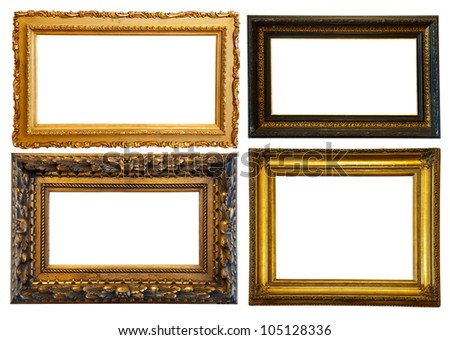 Set of few horizontally gilded frames. Isolated over white background with clipping path - stock photo