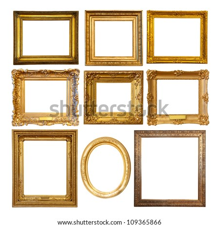 Set of few Luxury golden frames. Isolated over white background with clipping path - stock photo