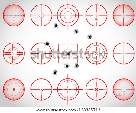 Set of fifteen red cross hairs, with bullet holes, raster copy - stock photo