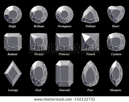 Set fifteen various diamond cut shape stock illustration 556132732 set of fifteen various diamond cut shape and design diagrams with their names top view ccuart Gallery