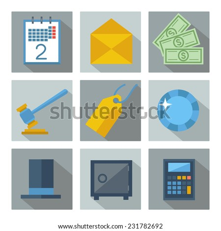 Set of 9 financial investment square icons with long shadows. Isolated on white. Raster version  - stock photo