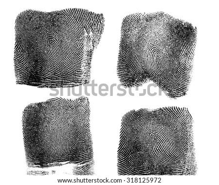 Set of fingerprint on white background - stock photo