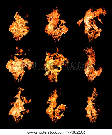 Set of fire flames raising high over black background - stock photo