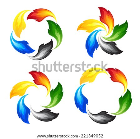Set of fire icons in colors of the five continents - stock photo