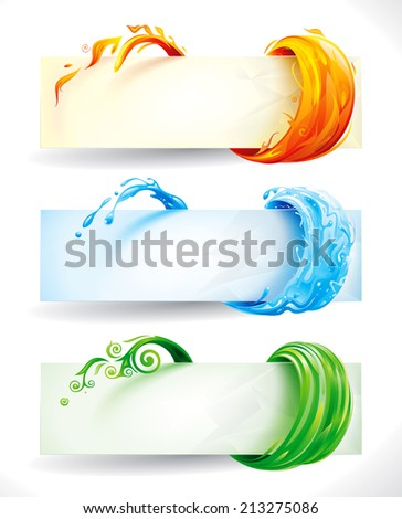 Set of fire, water and green elements banner background. Raster. - stock photo