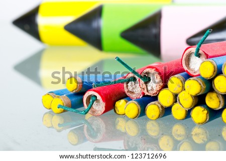 Set of fireworks with reflection - stock photo