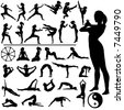 Set of fitness women exercise, do martial arts and yoga, in a group of silhouettes, with Eastern, Buddhist symbols. - stock