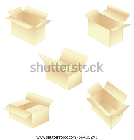 set of five boxes - stock photo