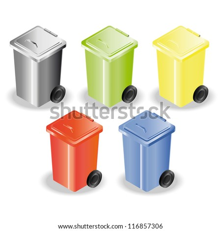 Set of five containers for rubbish sorting. Raster version of the vector image - stock photo