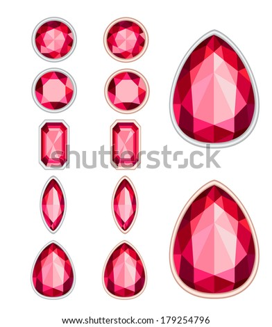 set of five forms of ruby cut and two kinds of frames (silver and gold) - stock photo