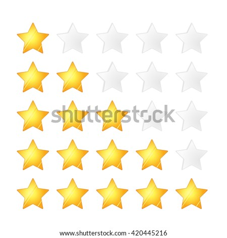 Set of five golden stars rating template, isolated on white