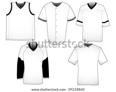 Set of five jerseys from different sports. Your own design can easily be placed on the templates. - stock photo