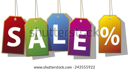 Set of five sale tags - stock photo
