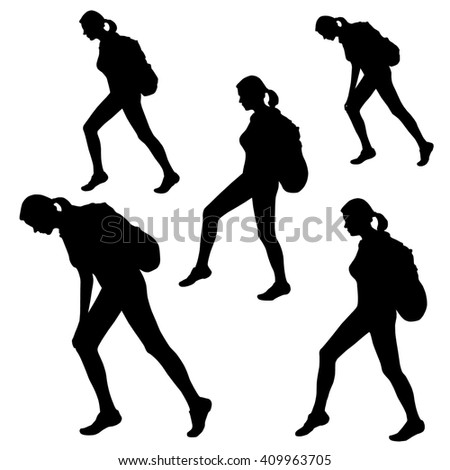 set five silhouettes girl woman climber stock illustration