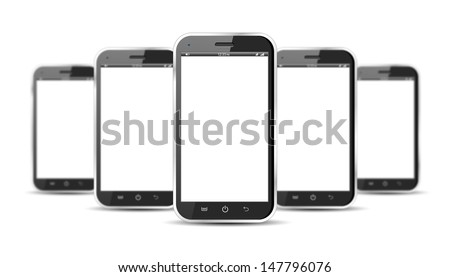 Set of five smartphones isolated on a white background - stock photo