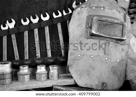 set of fixing tools for cars in black and white  - stock photo