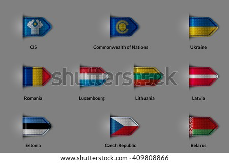 Set of flags in the form of a glossy textured label or bookmark. CIS Commonwealth of Nations Ukraine Romania Luxembourg Lithuania Latvia Estonia Czech Republic Belorus. Rasterized version. - stock photo