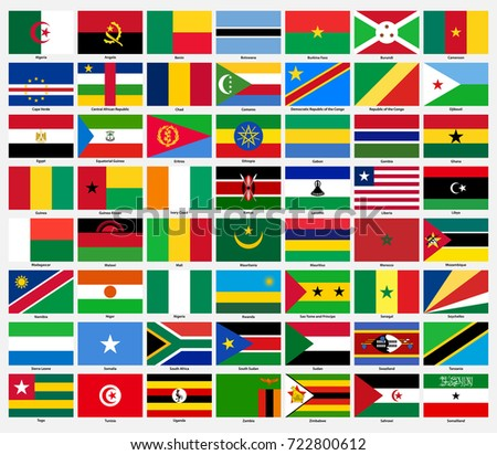 Set of flags of all African countries.