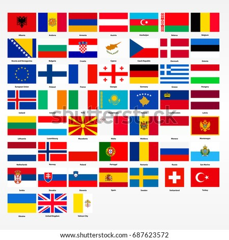 Set of flags of all countries of Europe.