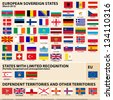 Set of Flags of European sovereign, partially recognised states and Dependent territories (March 2013). - stock vector