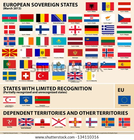 Set of Flags of European sovereign, partially recognised states and Dependent territories (March 2013). - stock photo